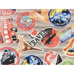 10番キャンバス生地 布 I LOVE TRAVEL PA44200-200Aグレー スーツケース ステッカー 自由の女神 ロンドンバス エッフェル塔 コッカ 商用利