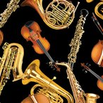 USAコットン 生地 布 ピアノソロ 8605-12 トスド ホーン&ストリングス ホルンと弦楽器 カンヴァス ベナーテックス ホルン サックス クラリネッ
