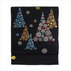 名古屋帯 正絹 西陣織 クリスマス 黒 〜もみの木〜 ブラック