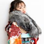 ショッピングショール (SAGA FURS シルバーフォックスショール16銀)日本製 成人式 振袖 結婚式 二次会 和装 洋装 パーティ 着物 大判 リアルファー ストール 毛皮 シルバー(ns42)(zr)