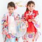 (着物セット 華やか B) 七五三 着物 3歳 20colors 販売 フルセット 753 女の子 被布 被布セット ガールズ(sp)