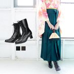 (袴ブーツ)卒業式 編み上げブーツ 黒 茶 焦茶 厚底 合皮 袴 ブーツ コスプレ ブラウン レディース 大きいサイズ(zr)