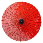 紙舞日傘 尺4 満天桜 エンジ