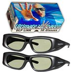 DLP LINK 144 Hz Ultra-Clear HD 2 PACK 3D Active Rechargeable Shutter Glasses for All 3D DLP Projectors - BenQ, Optoma, Dell, Mitsubishi, Samsung, Acer