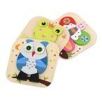 子供教育玩具木製3dパズルカラフルかわいい動物フクロウ/ Frog /バタフライパズルPreschool幼児用おもちゃ