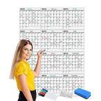 Scribbledo ジャンボ ドライイレース 年次カレンダー 36インチ x 48インチ 12ヶ月 再利用可能な壁プランナー マーカー4本と消しゴム