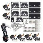 Dmyond DIY Aluminium Smart 6-Dof Robot Mechanical Arm Robotic Clamp Claw Kit with MG996R Servos 25T Metal Disc Horns and Screw for Arduino UNO MEGA256