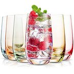 MITBAK 13オンス カラーハイボールグラス(6個セット) 鉛不使用 ドリンクグラス タンブラー ミックスドリンク/水/ジュースビール/カクテル用