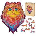 AAGOOD 木製ジグソーパズル 大人用 ユニークな形状のジグソーパズル チャーミングな猫 (プロ) 大人と子供に最高のギフト 11.4×14.6イン