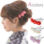 髪飾り ヘアアクセサリー Uピン3点セット ミニ小花 ちりめん つまみ細工 赤 ピンク 白 紫