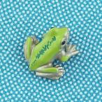 タックピン・ブローチ (黄銅製)蛙・かえる・カエル 足揃 小