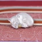 帯留(銀製)眠り猫・ねこ・ネコ