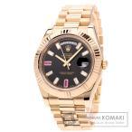 ROLEX ロレックス 218235BG デイデイト2 2Pルビー 8Pダイヤモンド 腕時計  K18ピンクゴールド/K18PG メンズ  中古