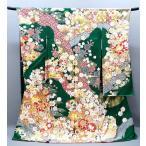 ショッピング振袖 セール 正絹古典柄振袖  御所車 貝桶 f-029-t グリーン 刺繍入り