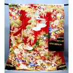 ショッピング振袖 正絹 古典柄振袖 古典華文 赤 f-082-t 受賞柄 刺繍