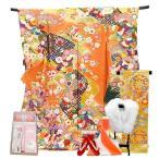 振袖 フルセット 一式 仕立て付き 正絹振袖 f-563 袴プレゼント 古典柄 橙 オレンジ  刺繍入り 成人式 卒業式 結婚式 新品購入