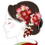 雅虎商城 - 髪飾り2点セット wk-226 つまみ細工 花かんざし 花 フラワー 成人式 振袖 浴衣 卒業式