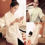 【半額セール】シャツ 長袖 レディース ブラウス 透かし彫り 白シャツ フォーマル カジュアル ホワイト ワイシャツ 細身 無地 OL 大きめゆるシャツ