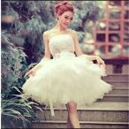 【協和屋】ワンピース 白 キャバ ウェディングドレス ミニ 花嫁ドレス パーティードレス イブニングドレス ミニドレス  披露宴 演奏会