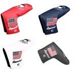 パターカバー ヘッドカバー スコッティーキャメロン オデッセイに適合 マジックテープ開閉式 アメリカ刺繍 ピンタイプ 紺 白 赤