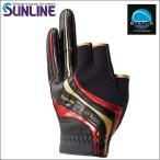 サンライン ネオプレーングローブ LL ブラック/レッド 黒 赤 3本切 SUG-412 ステータス フィッシング 手袋