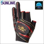 サンライン MAG マググローブ LL ブラック/レッド 黒 赤 3本切 SUG-514 ステータス フィッシング 手袋(予約品 11月発売予定 最新 新作モデル)