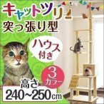 キャットタワー 猫タワー 突っ張り スリム キャットファニチャー おしゃれ  240cm?250cm つっぱり式 大型猫用 送料無料