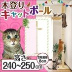 キャットタワー キャットポール ハンモック 突っ張りキャットポール 爪とぎ おしゃれ 高さ240-250cm スリム 猫 ねこ 木登り 送料無料