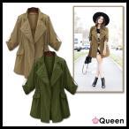 大きいサイズの服 レディース ミリタリージャケット 薄手のコート サファリジャケット LL 3L 4L 5L