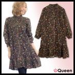 大きいサイズの服 レディース 花柄ワンピース 黒 シャ