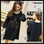 大きいサイズの服 レディース チュニックワンピ 星ワッペン 黒 フレア袖 LL 3L 4L 5L