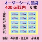 ショッピングシール オーダーシール印刷/上質紙/光沢紙/400平方センチ以内/6枚