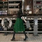 レーススカート グリーン レディース 膝丈 フレア レーススカート ウエストゴム ロング 大きいサイズ 秋 冬 新作 送料無料