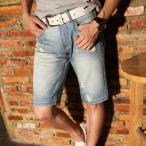 ハーフパンツ メンズ ショートパンツ デニム ジーンズ スリム デニムパンツ ショーツ ハーパン ストレッチ 短パンの画像