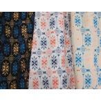 綿カットワークレース生地(3色) コットン 北欧花柄 北欧風 無地布にカラフルな刺繍 エスニック アジアン