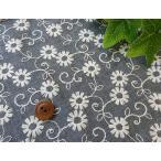 デニム風生地に花柄刺しゅう国産【1個96cmx50cm】3個までネコポス可能KLM71