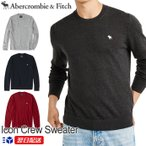 アバクロ Abercrombie&Fitch アバクロンビー&フィッチ クルーネックセーター ニット Icon Crewneck Sweater グレー ネイビー レッド
