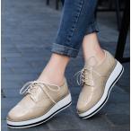 エナメルシューズ レディース 春 靴 エナメル ヒール 厚底 スニーカー 紐靴 マニッシュ 疲れない 歩きやすい 身長カバー 韓国ファッション ポイント消化