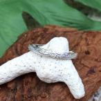 指輪 リング シルバー925 ハワイアンジュエリー プルメリアリーフ柄 幅細 ヘリテイジ