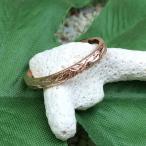 戒指 - 指輪 リング シルバー925 ハワイアンジュエリー プルメリアリーフ柄 幅細 ヘリテイジ ピンク