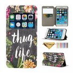 iPhone6/6s Plus スマホケース レザー&フェイクレザー系iPhone 6 Case, JZCreater [View Window] Folio Flip PU Leather Case, Unique Case for iPhone 6 with