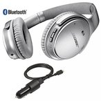 BOSE ヘッドフォン Bose QuietComfort 35 Bluetooth Wireless Noise Cancelling Headphones - Siver & Car Charger - Bundle 正規輸入品