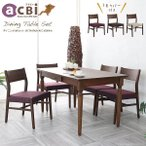 開梱 アジアン家具 ダイニングテーブルセット 4人用 5点セット チーク無垢材 天然木製  伸長 おしゃれ アクビィ ACT450KA1ACC360KA4