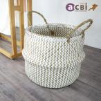 アジアン家具バスケットかご収納持ち手付きランドリー小物入れおしゃれ大きめLサイズ折り畳みシーグラス製ナチュラルエスニックAZS012L