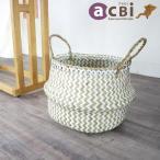 アジアン家具バスケットかご収納持ち手付きランドリー小物入れおしゃれMサイズ折り畳みシーグラス製ナチュラルエスニックAZS012M