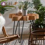 アジアン家具 サイドテーブル 机 花瓶台 おしゃれ 玄関 チーク無垢木製 アクビィ スパイス ナチュラル AZT005