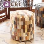 ショッピングいす スツール 椅子 チェアー おしゃれ パッチワーク スエード 革 円形 アジアン エスニック アクビィ CP366MBE