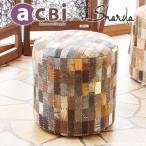 ショッピングいす スツール 椅子 チェアー おしゃれ パッチワーク スエード 革 円形 アジアン エスニック アクビィ CP366MDB