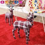 トナカイ 鹿 置き物 オブジェ ルームデコレーション 動物 おしゃれ タータンチェック レッド ON&ON DBZ012RD DBCZ012RD