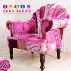 ソファー 1人掛け 肘付き 椅子 北欧 カフェ パーソナル チェアー おしゃれ ピンク パッチワーク ON&ON DLD801PK